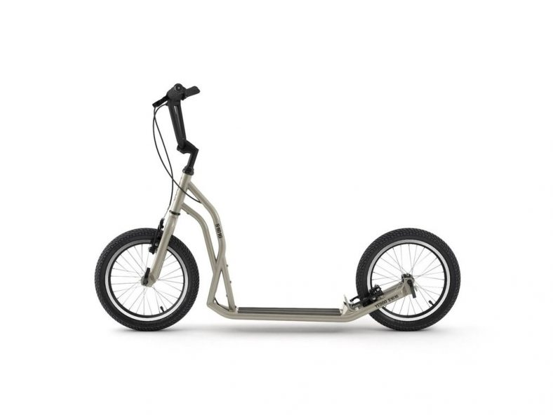 Yedoo S1616 adult urban kick scooter in silver gold with two big wheels and v brakes