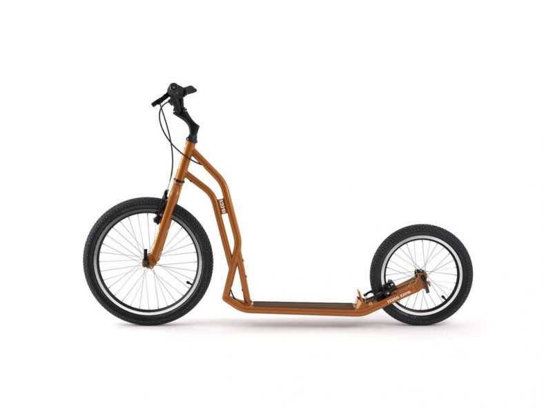 Yedoo S2016 urban kick scooter in orange colour with two big wheels and v brakes