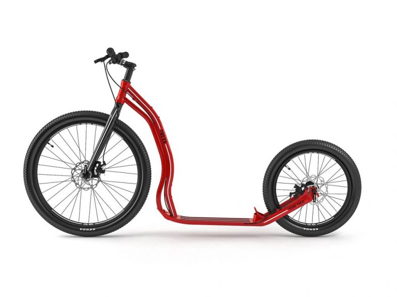Yedoo Trexx disc hybrid scooter in red with two big wheels and disc brakes